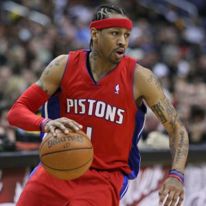Allen Iverson with Shooter Arm Sleeve at Bench-Crew