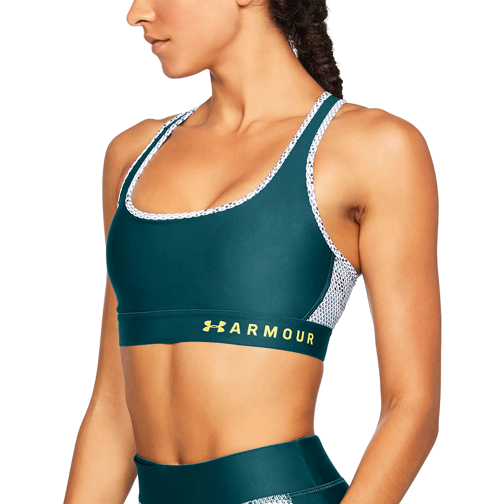 2e609799bd5 Under Armour® Mid Crossback Print Sports Bra Teal at Bench-Crew